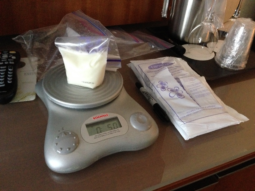 Weighing and packing milk in London, January 2015.